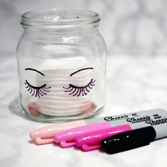 Super easy DIY Sharpie makeup storage jars