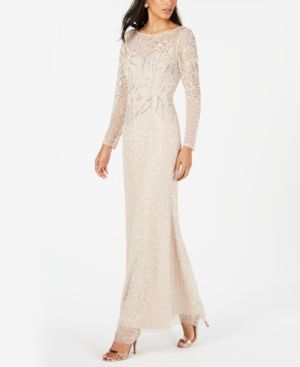 d389192383 ADRIANNA PAPELL PETITE BEADED OVERLAY COLUMN GOWN.  adriannapapell  cloth