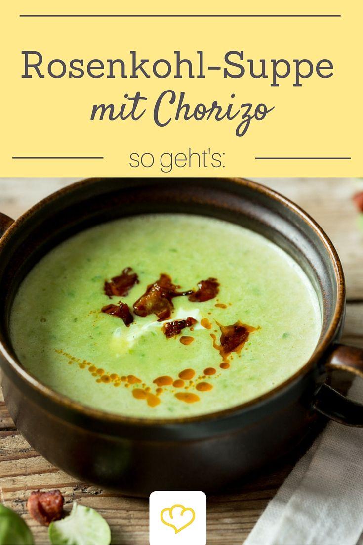 Genau das richtige wenn es draußen kalt und ungemütlich ist: eine cremige Rosenkohl-Suppe. Für das gewisse Etwas sorgt das Chorizo-Topping. Ausprobieren!