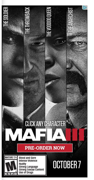Saw this ad for mafia 3. Based on the characters looks like it's just going to be GTA V  a black chick