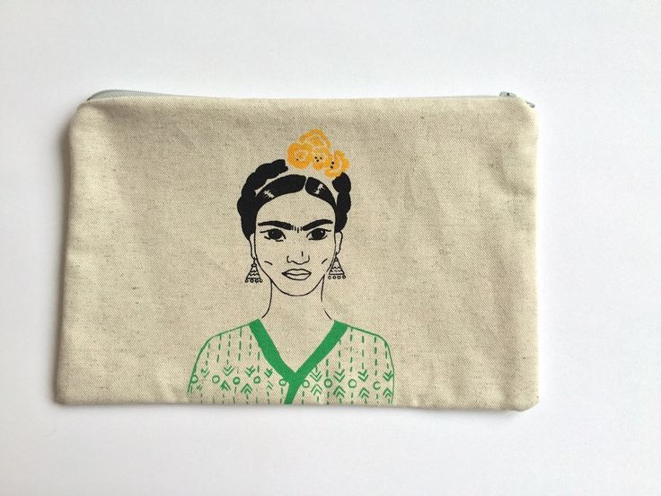 """Big  zipper pouch """"Frida Kahlo"""" screen printed by LatelierdEloiseS on Etsy"""