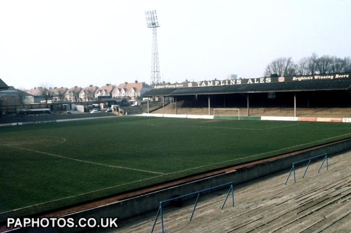 The Goldstone Ground - Brighton and Hove Albion's old stadium - Between 1960 and 1997 I was a very regular visitor to this football stadium. Many seasons I watched every home game. 1985 onward, I watched less frequently because I lived in Kent. photo 1972