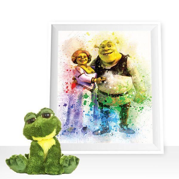 Shrek print, Shrek and Fiona wall art, Shrek printable, Fiona print, Shrek watercolor, Fiona printable, Princess Fiona poster, Shrek poster by HappyLittleFrog on Etsy