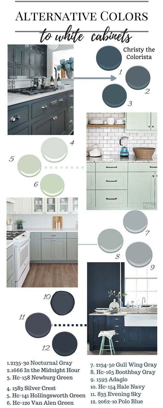 Great Benjamin Moore paint colors for cabinets! Polo Blue, Newberg Green…