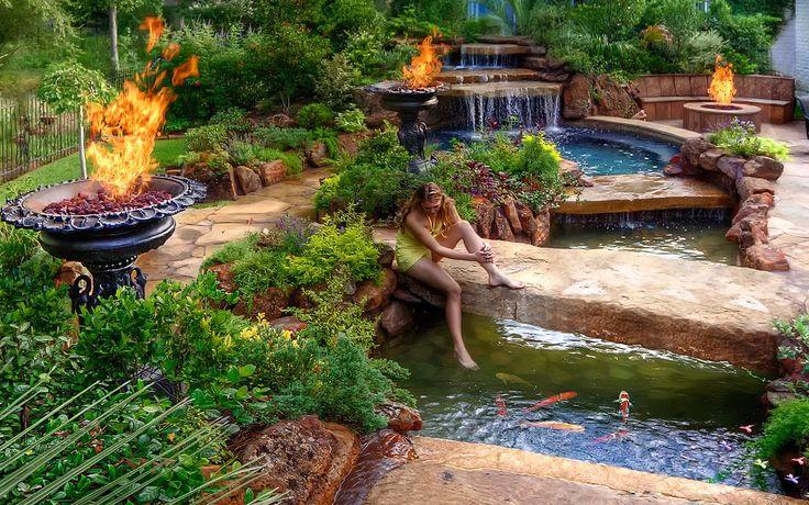 Texas morning great atmosphere spa pool fire koi for Koi pond next to pool
