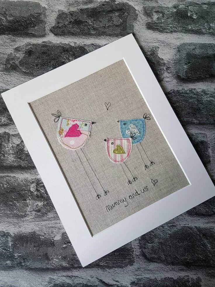 Original textile art bird picture applique art handmade