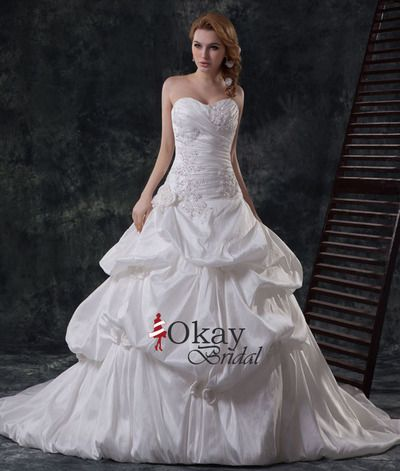 Sweetheart Wedding Dress,Cheap Wedding Dress,A Line Wedding Dress,Bubble Wedding Gown,Pretty Wedding Dress,Taffeta Bridal Gown,WD1013