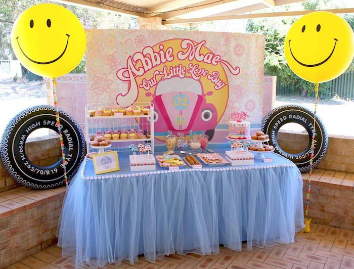 Sweet Table from a 60 s VW Love Bug Themed Birthday Party via Kara s Party  Ideas KarasPartyIdeas. 270 best Retro Party Ideas images on Pinterest   Birthday party