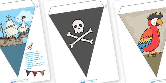 Pirate Toon Bunting - Piraten gors, piraat gors, piraten, piraat vertoning, gors, vertoning gors, gors vlaggen, uitgesneden gors, papier gors