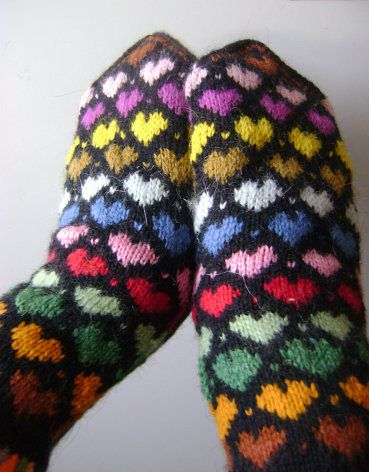"Mittens ""Colorful hearts"""
