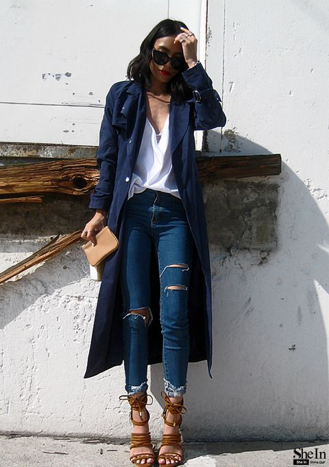 streetssavoirfaire: the–one: Navy Trench Coat via Shein Streets Savoir Faire
