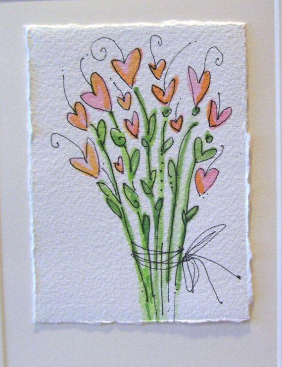 Watercolor Card Original  Big Love by betrueoriginalart on Etsy