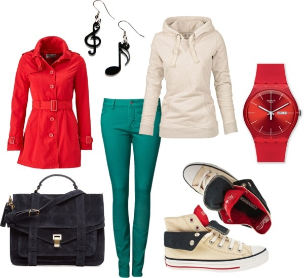 To complete: white hoodie, red trench coat, white converse, turquoise pants