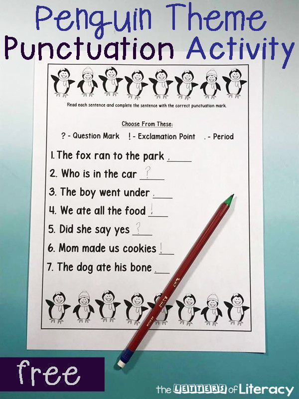 Punctuation Worksheets For Kindergarten Free Printable Penguin Themed Punctuation Activity F Punctuation Activities Punctuation Worksheets Teaching Punctuation Question mark worksheets for kindergarten