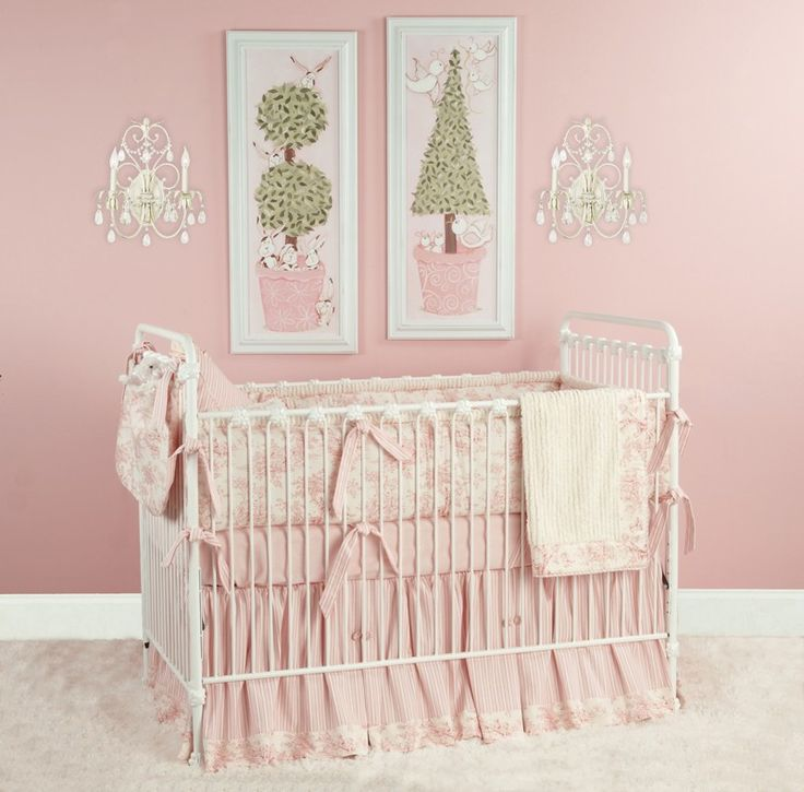 Soft And Elegant Gray And Pink Nursery: Link: The Doodlefish Baby Toile-Pink Crib Bedding Set Is