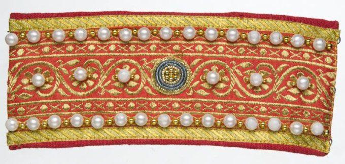 Recreation, Kievan princely dress (cuff) Modern trim beaded & embroidered.