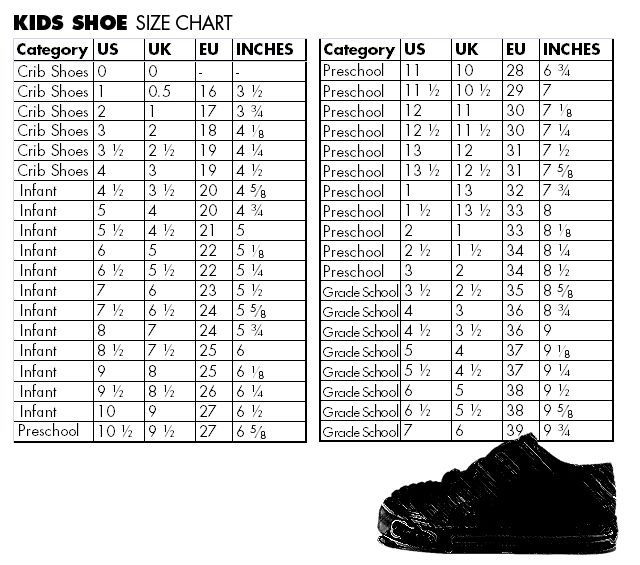 Converse and Chart sizing sneakers Toddler clothing guide Size Shoe
