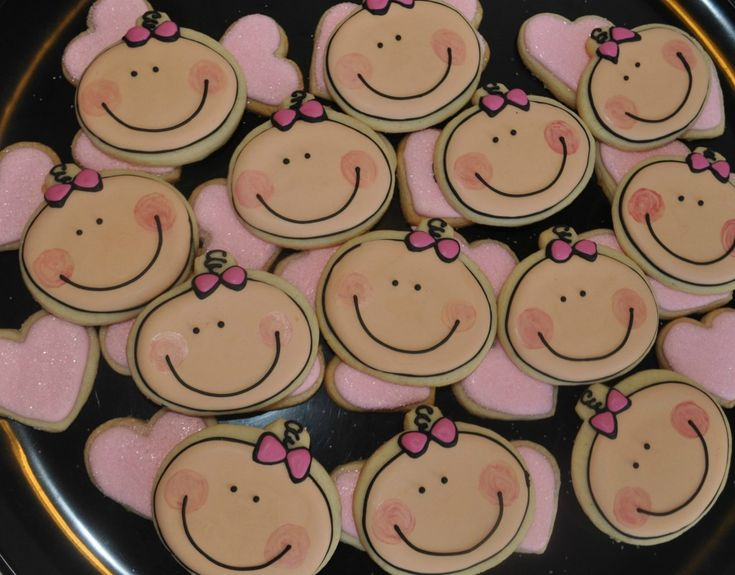 how to make baby face cookies  | to make a Cute Baby Girl Cookie – Great Cookie Favor for a Girl Baby ...