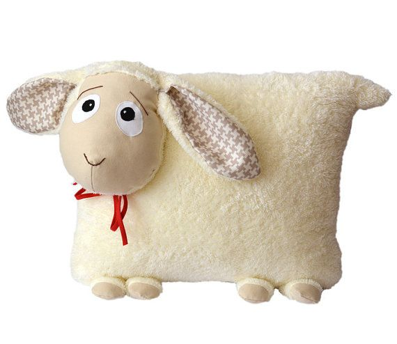 Pillow - Lamb - Sheep - fluffy - Decoration for beds and sofas - Filling hypoallergenic (Oeko-tex)