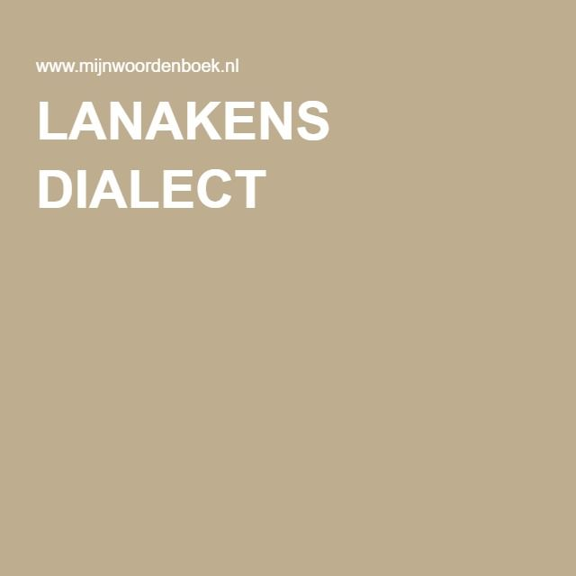 LANAKENS DIALECT
