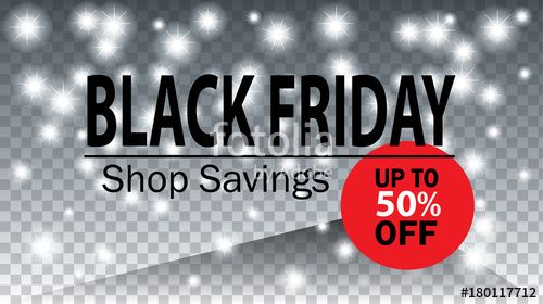 Vector: Black Friday Sale web banner. Advertising Holiday shopping card Bokeh lights background with price tag and discount logo symbol, vector template.