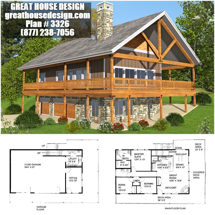 Rustic Mountain Home Plan # 3326 Toll Free: (877) 238 7056