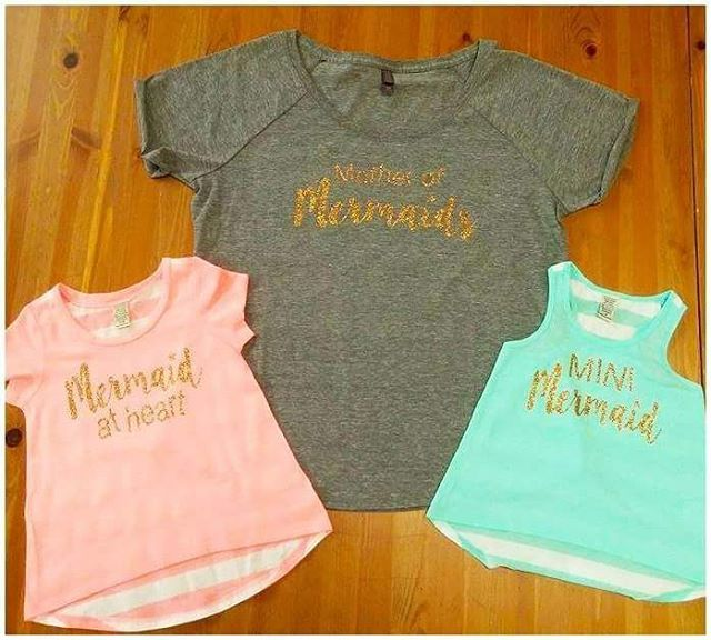 1223ab76a Check out these cute shirts for a mom and her 2 daughters!! Mother of  Mermaids, Mini Mermaid, and Mermaid at Heart! #customclothing… | Custom  Clothing ...