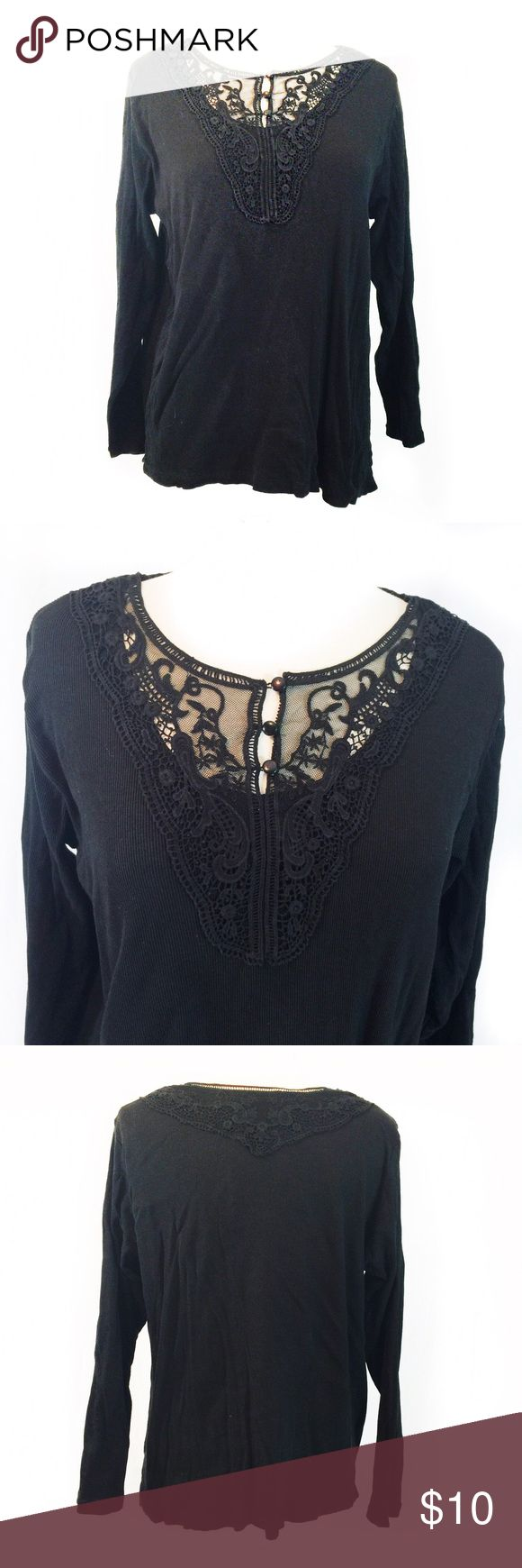 🎉HP🎉PLUS SIZE BLACK LONG SLEEVE TOP 🎉Host Pick for Everything Plus 11.22.2016🎉Beautiful top; Fabric content: 100% cotton; Bust: 44-47 inches. Material is stretchy. Shoulder to bottom hem: 25 inches. Care: Machine wash cold. Love the neckline. Good condition. No stains or holes. Brand: Denim + Company ( d & co.) d & co. Tops Tees - Long Sleeve
