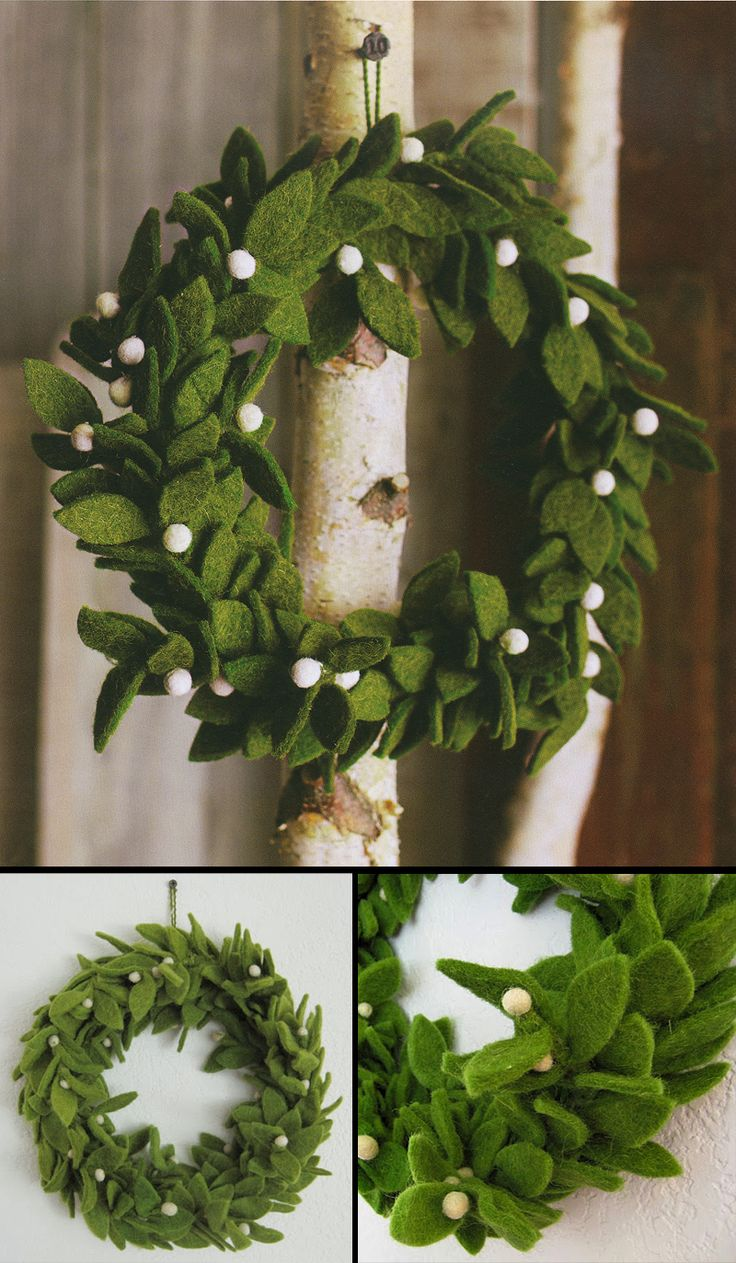 Green Felt Wreath with Mistletoe Accents / Felt Theme Christmas decor Wreath