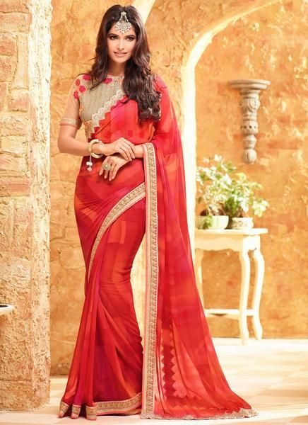 Latest Designer Bollywood Traditional Red Colored 23696 Beautiful Georgette Sari Partywear Saree With Embroidery Work