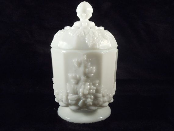reserve for ting vintage milk glass container with lid grapes - Glass Containers With Lids