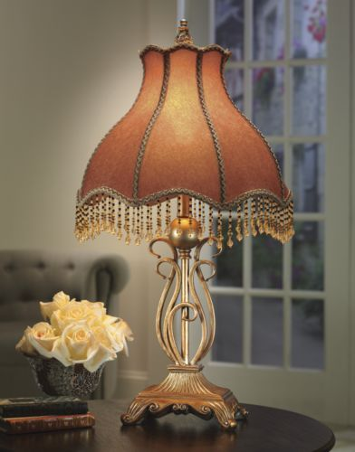 Victorian beaded lamp from midnight velvet topped by a shapely beaded shade of jacquard