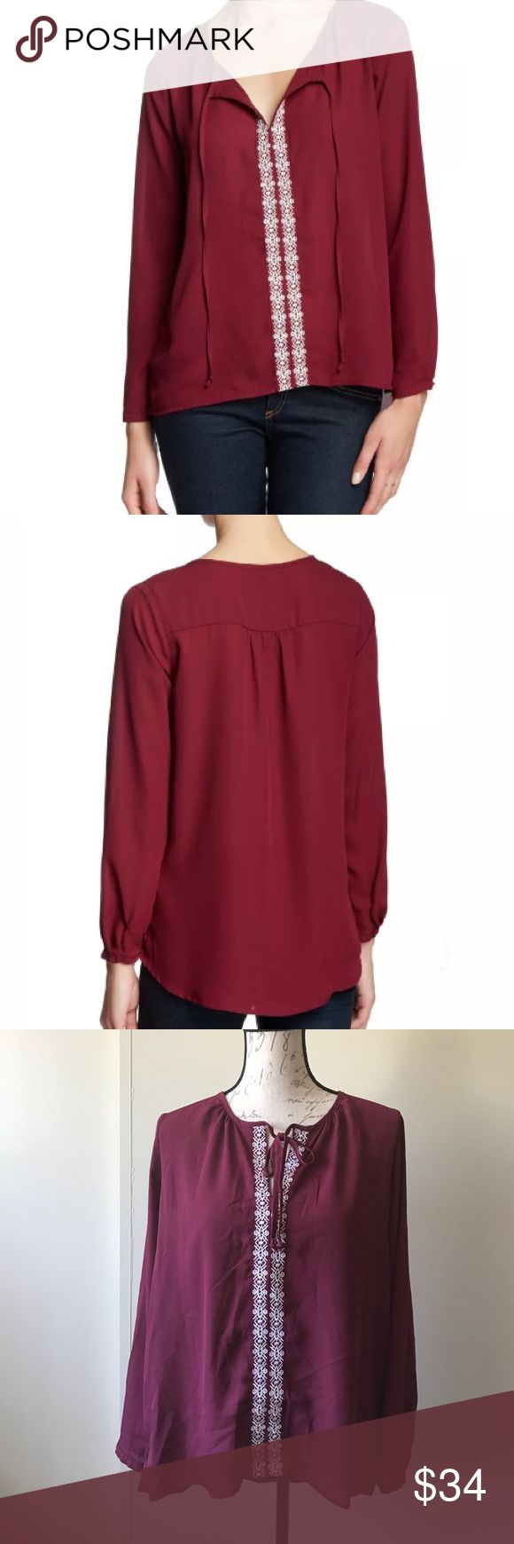 Harlowe & Graham Boho Style Hi-Lo Blouse Burgundy 3/4 Sleeve Peasant Blouse. Embroidered detail. 100% Polyester. Tie front. Bundle for discounts! Thank you for shopping my closet! Harlowe & Graham Tops Blouses