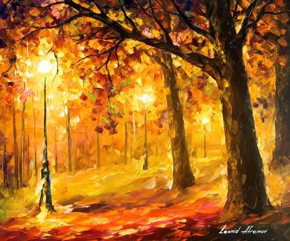 Old Oaks  PALETTE KNIFE Landscape Modern by AfremovArtStudio