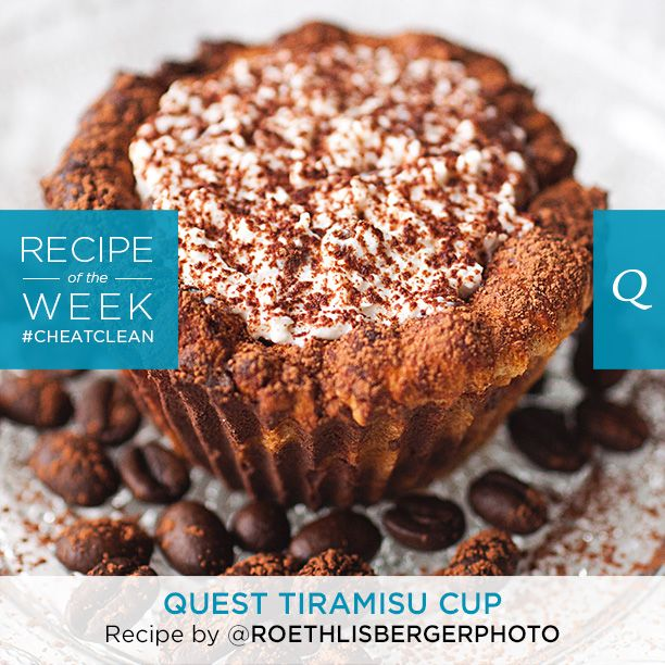 Tiramisu - don't mind if we do! These delicious #CheatClean Tiramisu Cups are filled with flavor and personality. Try this healthy recipe by fan Fanny Roethlisberger. Ingredients One Chocolate Chip Cookie Dough Quest Bar Strong brewed coffee…