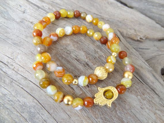 EXPRESS SHIPPINGYellow Agate BraceletHand of Fatima