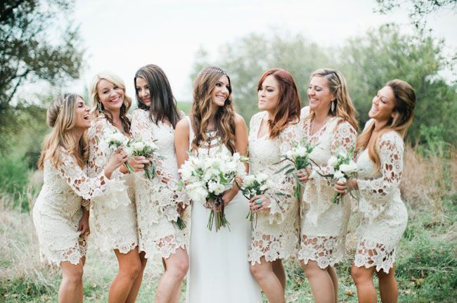 Bridesmaids in crocheted Dreamers & Lovers dresses