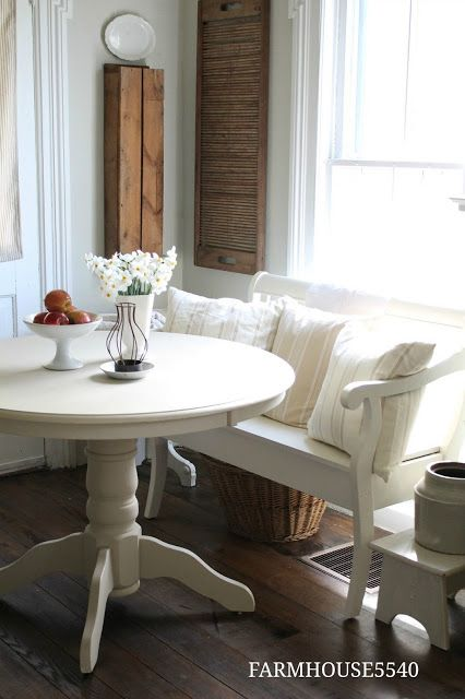 White Kitchen Table With Bench