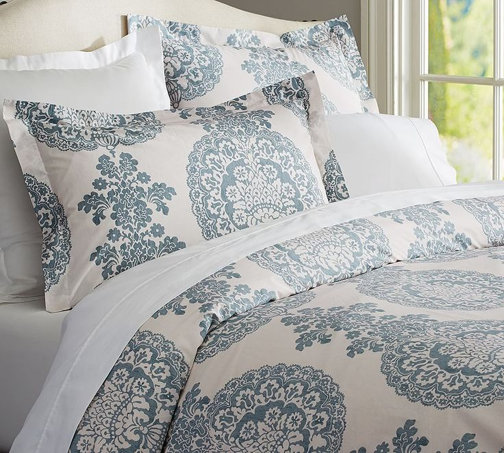 Lucianna Medallion Sham Euro Blue At Pottery Barn