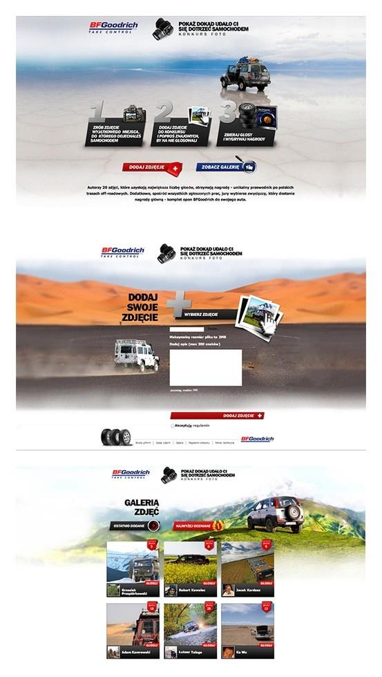 """Dla firmy Michelin - właściciela marki BFGoodrich, przygotowaliśmy konkurs pt. """"Dokąd udało Ci się dotrzeć?""""   W konkursie użytkownicy samochodów terenowych i pojazdów typu SUV mogą pochwalić się zdjęciami najciekawszych miejsc, które odkryli podróżując swoim autem.  Konkurs odbywa się na facebook'owym profilu portalu motoryzacyjnego Moto.pl należącego do grupy medialnej Agora oraz na stronie portalu Terenowo.pl - portal 4x4 - jednego z największych polskich serwisów o tematyce off-roadowej."""