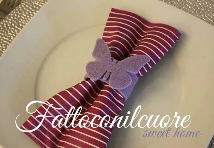set portatovagliolo farfalla in feltro vari colori, by fattoconilcuore, 8,40 € su misshobby.com