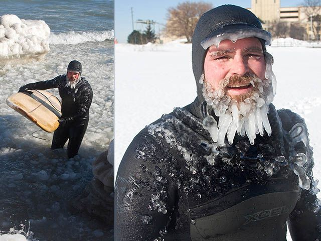 SURF NEWS Brad Tunis -- Santa Claus or stoked, freezing surfer?