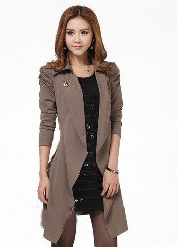 Light Coffee Turndown Collar Trench Coat with Belt – teeteecee - fashion in style