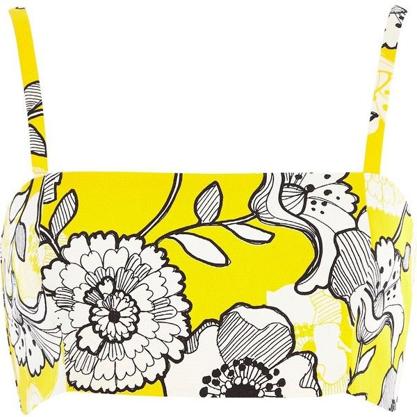 River Island Yellow floral print crop bandeau (120 SEK) ❤ liked on Polyvore featuring tops, crop tops, shirts, bralets, river island, sale, summer crop tops, yellow shirt, bralette crop top and white crop top