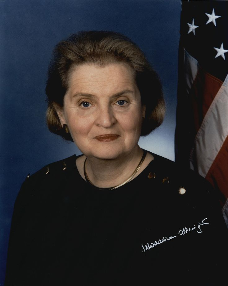 Madeleine Albright (May 15, 1937) was the first woman to become the United States Secretary of State. She was appointed by President Bill Clinton on Dec 5 1996, and was unanimously confirmed by a U.S. Senate vote of 99–0. Albright currently serves as a Prof. of International Relations at Georgetown University's Walsh School of Foreign Service. She has a PhD from Columbia University. Albright is fluent in English, French, Russian, and Czech; she speaks & reads Polish and Serbo-Croatian as…