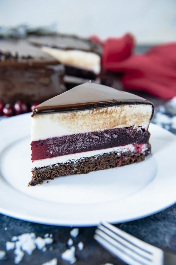Triple Chocolate Cranberry Mousse Torte sliced