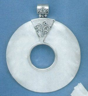 Sterling Silver Pendant, White Shell, Design Bail, 2-3/8 in (incl bail) Silver Messages. $50.99. Save 31%!