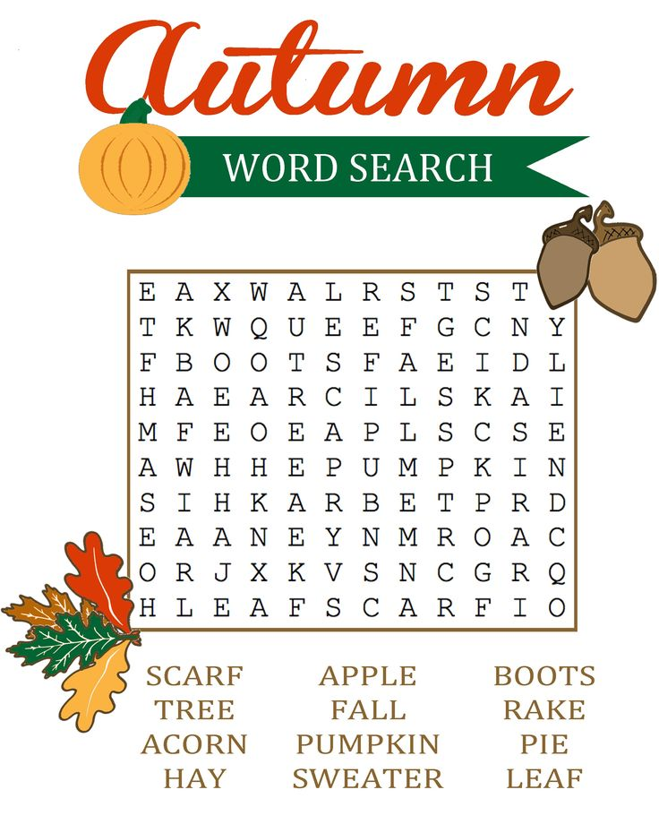 Fall Word Search Printable | Activity Shelter                                                                                                                                                                                 More