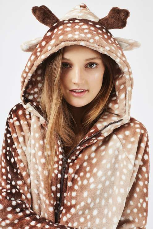 Switch straight into Christmas mode in this adorable super-soft reindeer twosie set. Comes with a matching hoodie and jogger in a reindeer print and cute hood with ears. #Topshop