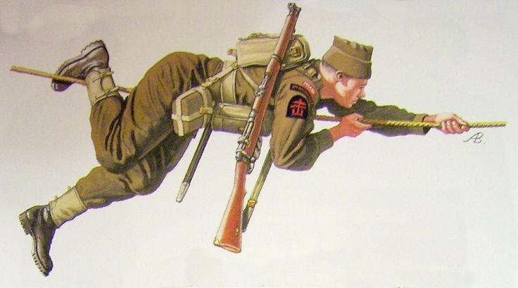 """Symbole Polskich Komandosów Commando. Na mundurach oprócz naszywki z napisem """"Poland"""" nosili plakietkę z napisem """"No10 Commando"""" oraz odznakę Dowództwa Operacji Połączonych, na której widniała kotwica, pistolet maszynowy i orzeł symbolizujące współpracę między marynarką wojenną, armią i siłami powietrznymi"""